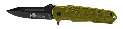 "HTK Wolf CR3X Spring Assist Rubberized Handle Belt Clip Half Serrated Blade, 3.2"""