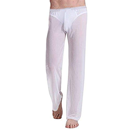 dPois Herren Transparent Netz Hose Lang Short Yoga Hose Pants Männer Aladinhose Reizwäsche Nachtwäsche Borat Jogginghose Unterwäsche Schwarz Weiß S-XL Weiß M