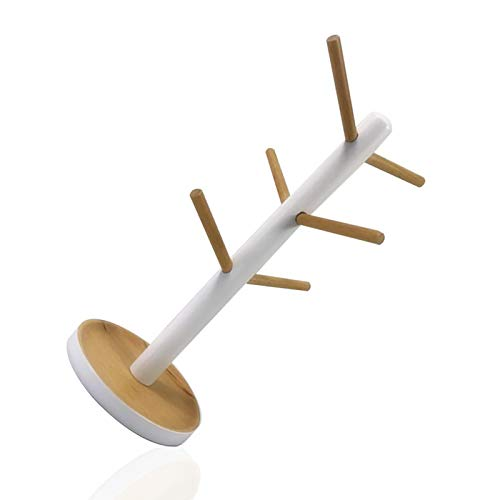 Soporte para tazas de madera con 6 ganchos, estilo coreano