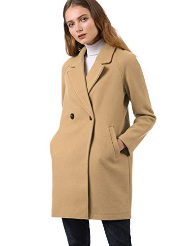 Allegra K Women's Notched Lapel Double Breasted Raglan Winter Coats Small Khaki