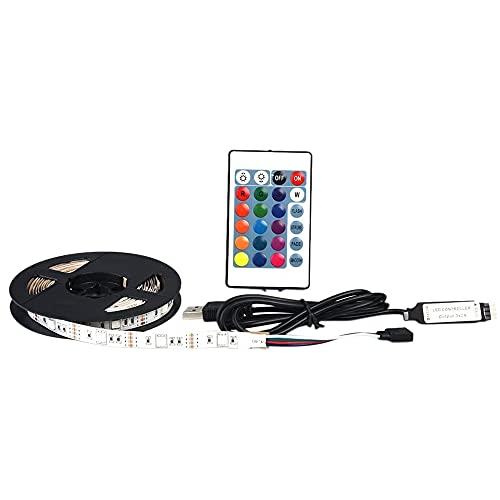 OVBBESS Tira de luces LED, tira de luces LED con cable USB y mando a distancia de 24 teclas RGB para iluminación y decoración de fiestas de techo
