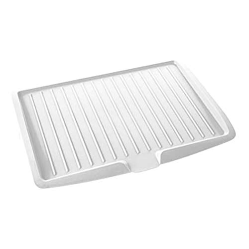 Premium Drip Tray Dish Drainer Mat Plastic Kitchen Dish Draining Rack Dish Drain Board Sink Side Drip Sloping Draining Tray for Pots, Pans, Glass, Bowls Fruit Vgetable Drain Cooking Holder Tools White