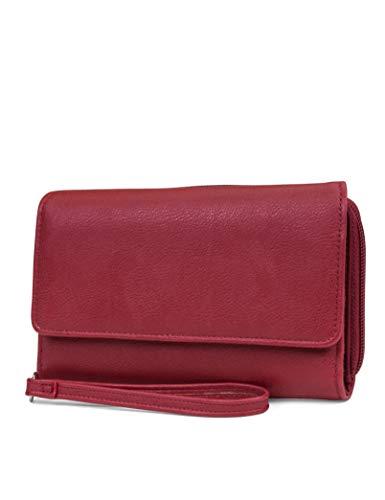 MUNDI Big Fat Womens RFID Blocking Wallet Clutch Organizer Removable Wristlet ((Red))