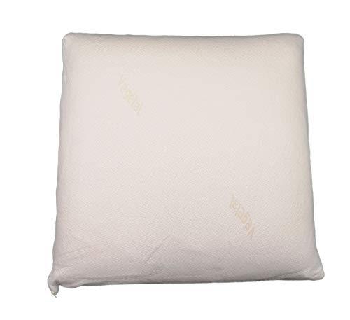 Almohada viscoleastica 60x60cm, Funda 100% algodón Lavable, antiácaros, antialergico, firmeza Media-Baja (Beige, 60x60cm)