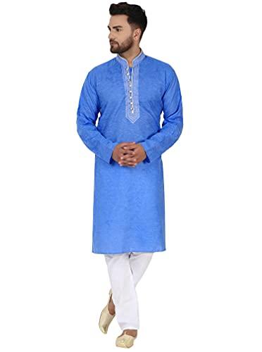 SKAVIJ Men s Tunic Cotton Kurta Pajama Set Casual Indian Suit Dress Set (Small  Blue)