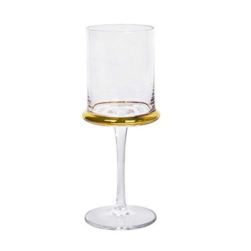 Copas De Vino YKBBA Copa De Cristal De Velas Dorada Cristal Vidrio Tinto Whisky Copa Champán para La Cena De Bar 250ml 1pcs