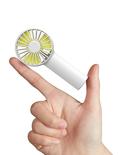 JISULIFE Mini Ventilatore Portatile, Piccolo Ventilatore Palmare USB, 2000mAh Batteria Ricaricabile Ventole, 3 Velocità, Flusso D'aria Migliorato, Ventilatore Silenzioso Tascabile - Bianco
