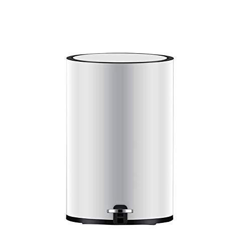 SOME Cubos de basura Basura y reciclaje Bote de basura de cocina Baño Cestas Contenedores Cubos de basura interior del pedal Silencio de basura, BLANCO (Size : 12L)