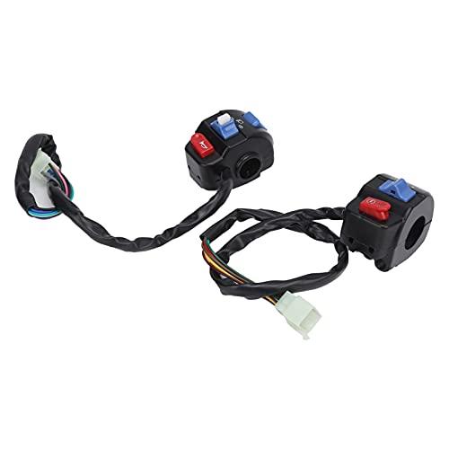 Interruptor del manillar Par de interruptor de control del manillar de la motocicleta de 7/8 pulgadas para reemplazo del botón de la lámpara antiniebla de la bocina de la señal de giro de la luz alta