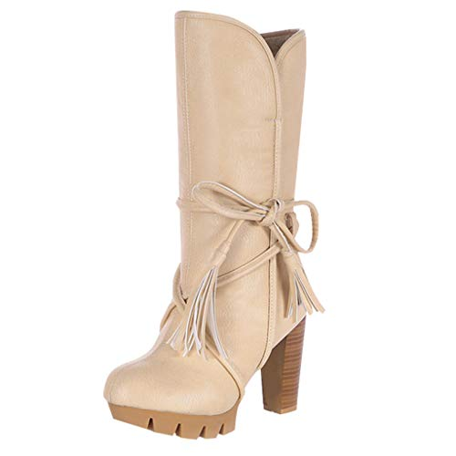 Stiefel Frauen Winterstiefel Damen Hohe Stiefel Schuhe Frauen Winter High Heel Stiefel Bogen Warme Plüschabsätze Winter (35,Beige)