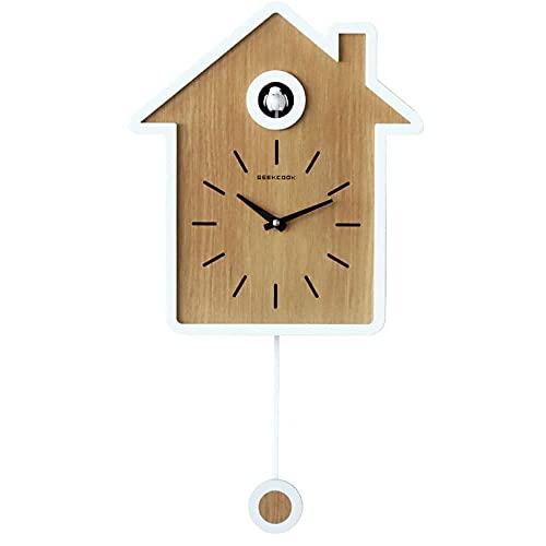 Qingzi Reloj de péndulo de Llamada de Cuco, Reloj de Cuco de Cuarzo Moderno con Sonido de pájaro y función de Descanso Nocturno automático, Reloj de Cuco Moderno
