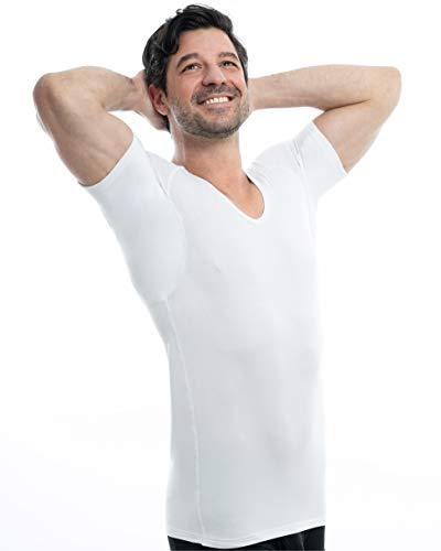 SWEAT-SAFE COMPANY® Anti-Schweiß Shirt gegen Schweißflecken - Minimiert Gerüche - Ersetzt Schweiß-Pads - Business-Unterhemd Herren - Bei Hyperhidrose, Weiß, L