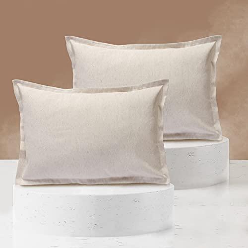 Viste tu hogar Pack 2 Fundas de Cojin 40x60 cm, Algodón y Poliéster, para Decoración de Hogar en Color Lino Liso.