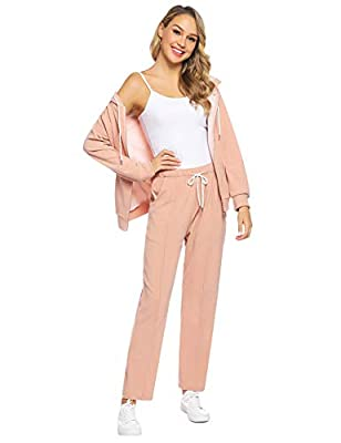 Abollria Women's Velour Sweatsuit Active Zip Hoodie Tracksuit Set Loungewear Apricot