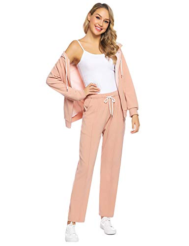 Abollria Women's Active Solid Velour Tracksuit Zip up Hoodie & Pullover Sweatshirts and Sweat Pant Sweatsuit Apricot