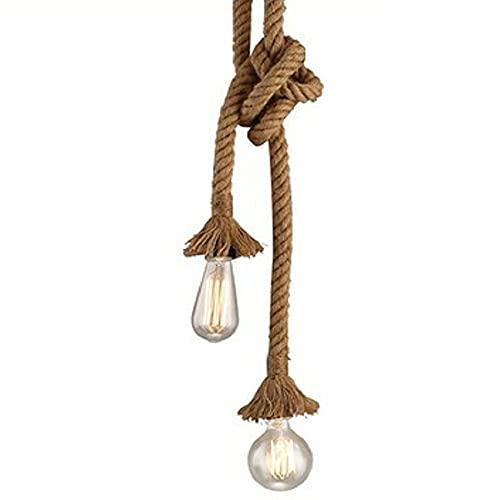 JJRPPFF Candelabro LED de cuerda de cáñamo retro de doble cabeza, lámparas creativas de decoración para bares y cafeterías E27, se puede agrupar en cualquier forma. Araña retro del restaurante