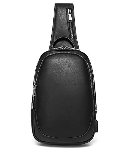 ボディバッグ メンズ 本革 ワンショルダーバッグ レザー 斜め掛けバッグ USBポート付き 大容量 9.7インチiPad収納可 通学 通勤 自転車 通気性 左右肩付け替え