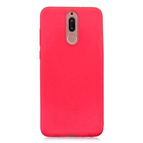 cuzz Custodia Huawei Mate 10 Lite+{Film di Vetro temperato}Silicone TPU Cover Morbida Protettiva Custodia Ultra Sottile Leggero Cover-Rosso