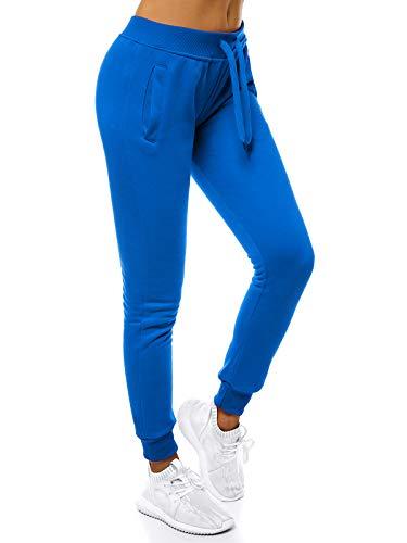 OZONEE Damen Jogginghose Hose Trainingshose Sporthose Freizeithose Motiv Damenhose Fitnesshose Sweatpants Sweathose Fußballhose Joggpants JS/CK01 BLAU M