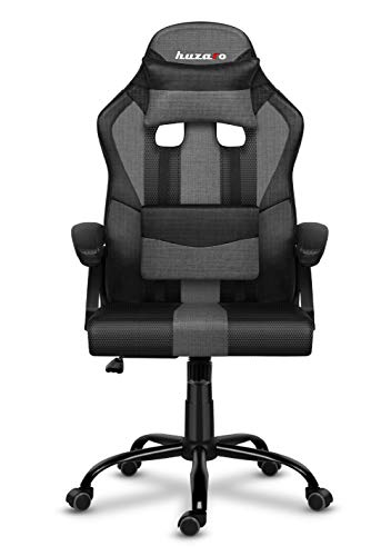 huzaro Grey mesh Force 3.0 Gaming Stuhl Bürostuhl Schreibtischstuhl Verstellbare Armlehnen Ergonomisches Design Nackenkissen Lendenkissen Grau, Standard