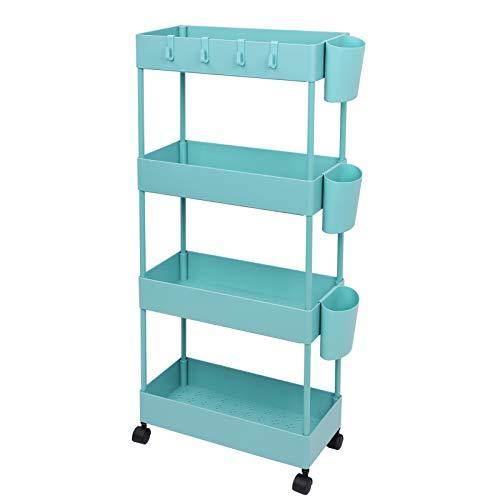 JAKAGO Carrito de almacenamiento deslizable con ruedas delgadas, estante organizador de 4 niveles, estante organizador de utilidad, lugar estrecho, unidad de estantería móvil para despensa (azulado)