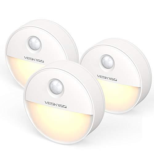 Luce Notturna Sensore di Movimento con magnetica (3 Pezzi), Luce Notte LED Batteria per Armadio, Scale, Bagni, Corridoi, Cucina, Garage