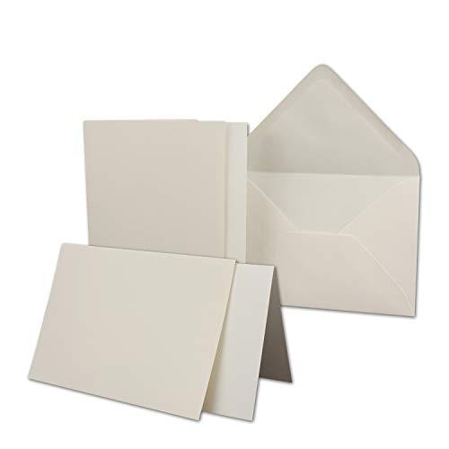 25x Karten-Set DIN B6 - Falt-Karten mit Brief-Umschlägen & Einlege-Blätter - Gerippte Struktur Oberfläche - Natur-Weiß - Vintage Einladungskarten