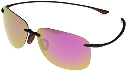 Maui Jim Hikina con lentes polarizadas patentadas PolarizedPlus2, gafas de sol rectangulares polarizadas, tortuga mate/MAUI Sunrise polarizadas, grande