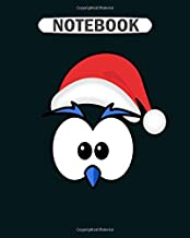 Notebook: eyes with christmas hat and beak blue College Ruled - 50 sheets, 100 pages - 8 x 10 inches