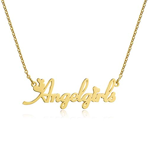 DHQH Custom Name Necklace Personalized 18K Gold Plated Nameplate Name Necklaces Customized Jewelry Gift for Women Girls(Gold/Silver/Rose Gold)