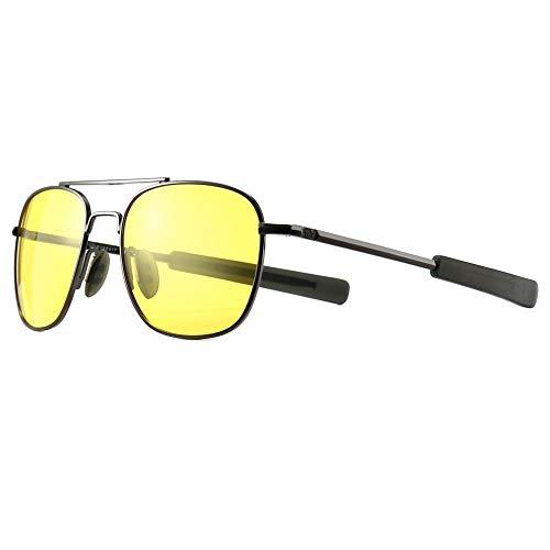 SUNGAIT Men's Night Vision Driving Anti-glare Glasses Military Style Pilot Aviator eyewear (Night Lens/Gunmetal Frame) A285QKYS