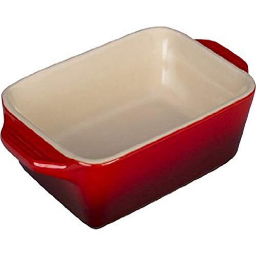Le Creuset PG1047S-1867 Stoneware Rectangular Dish, 7 by 5-Inch, Cerise (Cherry Red)