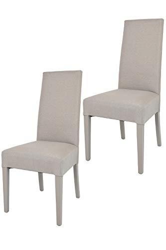 Tommychairs - Set 2 sillas Chiara para Cocina, Comedor, Bar y Restaurante, solida Estructura en Madera de Haya y Asiento tapizado en Tejido Color Gamuza