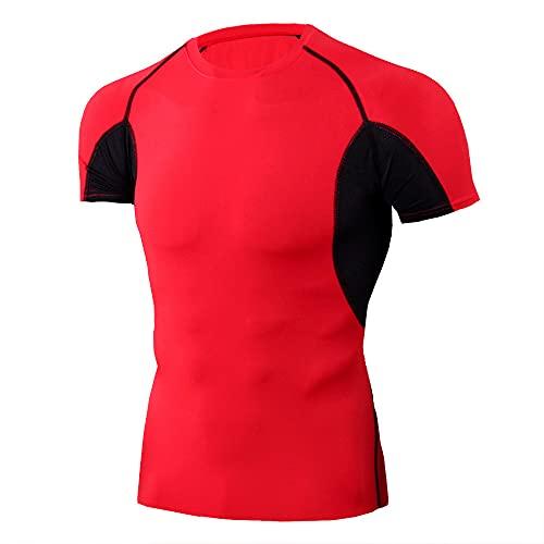 Camiseta Hombre Transpirable Casual Cómodo Entrenamiento Deportivo Camisa De Compresión Hombres Manga Corta Ligero Secado Rápido Jogging Verano Deportiva Hombres Tshirt I-Red 2 XL
