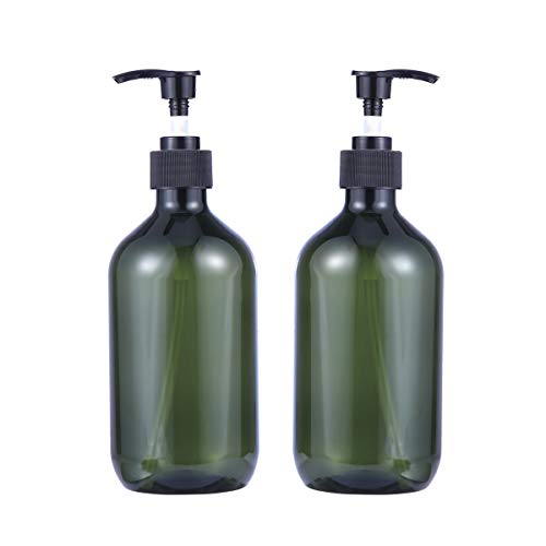 BESTOMZ 2 Piezas Empty Shampoo Bottles Jabón Dispensador Loción Bomba Botellas Contenedor 500 ml (Verde)
