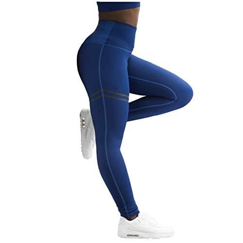 Tuimiyisou Para Mujer De La Gimnasia Leggings Pantalones De La Yoga Señora Que Lleva Polainas Altura De La Cintura Casual Pantalones Azul XL