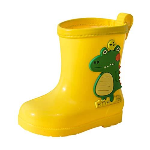 HDUFGJ Kinder-Gummistiefel Cartoon Dinosaurier wasserdichte Regenstiefel,robust,komfortabel,rutschfest,Verschleißfest,pflegeleicht29(Gelb)