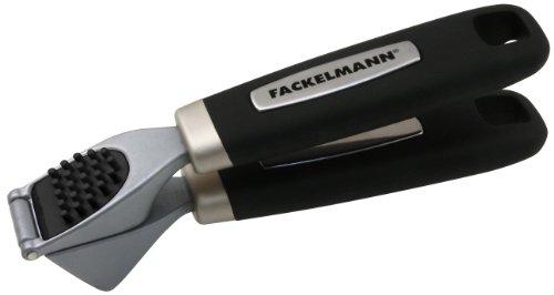 Fackelmann Knoblauchpresse FEEL, praktischer Küchenhelfer mit verzinktem Funktionsteil, Knoblauchschneider mit rutschfestem und ergonomischem Griff aus Kunststoff (Farbe: Silber/Schwarz), Menge: 1 Stück