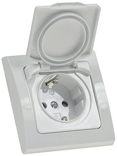 DELPHI Steckdose Unterputz IP44 mit Klapp-Deckel 230V-240V 16A Schutzkontakt-Steckdose Für Feuchtraum Innen Aussen Weiß