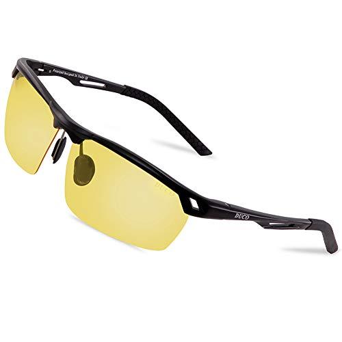 DUCO Nachtsichtbrille Anti-Glanz Fahren Brillen Kontrast-Brille Nachtfahrbrille polarisierte 8550 (Schwarz Rahmen Gelb Linse)