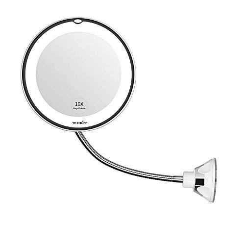 Womdee Kosmetikspiegel Mit LED Licht, 10X Vergrößerungsspiegel, 360-Grad-Drehung Mit Verstellbarem Schwanenhals, Badspiegel Mit Saugnapf, Tragbar Schnurlos Perfekt Für Die Wandmontage