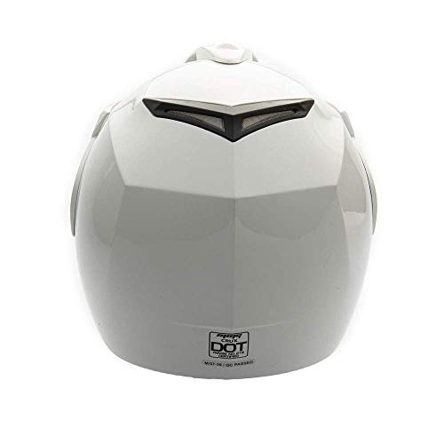 MMG 20 Motorcycle Scooter Open Face Helmet DOT Street Legal, Flip Up Shield, Shiny White, Large