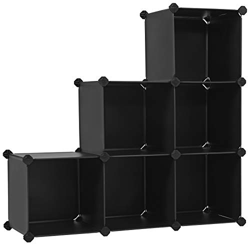 SONGMICS 6-Cube Storage Organizer, DIY Plastic Space-Saving Cabinet Chests Shelf, Black ULPC06H