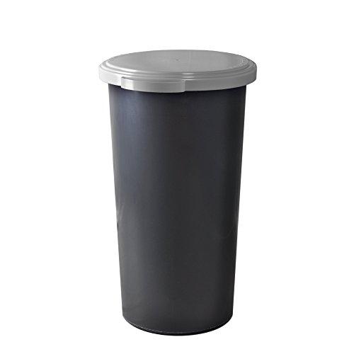 KUEFA 60L Müllsackständer mit flachem Deckel - Gelber Sack Mülleimer (Hellgrau)