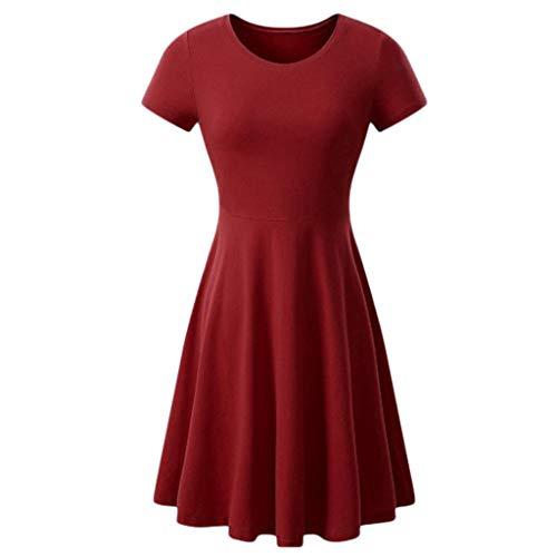 Damen Skaterkleider Knielänge Rundhals Stretch Basic Kleide Lässiges Damen Kurzarm Rundhals Sommer Midikleid T-Shirt Kleid (L, Wein)