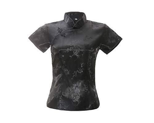 ACVIP Damen Pflaumenblüte Qipao Oberteile Stehkragen Kurzarm Chinesische Bluse Top(China 2XL/EU 42,Schwarz)