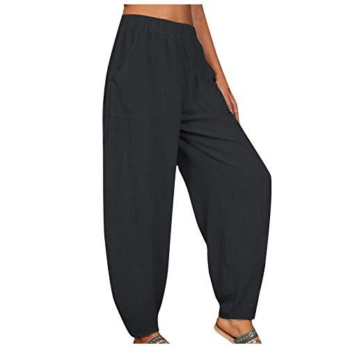 Pantalón Lino Mujer Verano Tallas Grandes Pantalones Anchos Mujer Pantalones Largos Sueltos Pantalones de Algodón y Lino para Mujer Anchos Pants Pantalones Rectos con Bolsillo