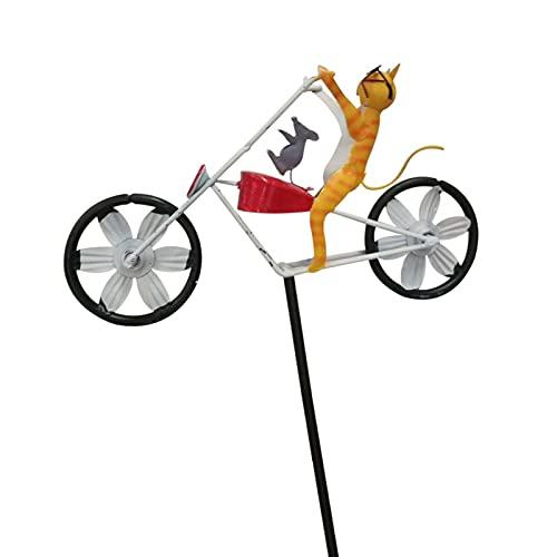 Windmühle Windspiel 3D-Tier Garten Kinder Fahrrad Windrad Gartenstecker Gartendeko Wetterfest, Yard Rasen Vintage Stil Stake Dekoration, Nettes Tier Reiten Auf Einem Motorrad Statue