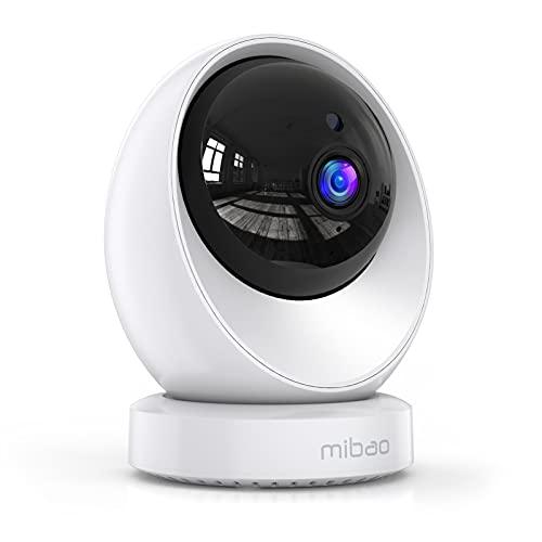 Überwachungskamera Innen, Mibao 1080P WiFi IP Kamera mit Panorama- Navigation, Nachtsicht, Zwei-Wege-Audio, 360 ° Schwenken/Neigen, Bewegungsverfolgung und Alarmfunktion, IOS/Android
