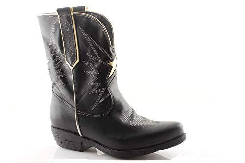 Stivaletti Texani Donna Camperos in Vera Pelle Nero Bianco Cuoio Invernali Western Cowboy (41 EU, Nero Platino)